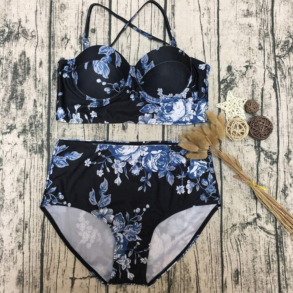 Cegduyi Women Top High Waisted Bandeau Bikini Bottoms Swimsuit Beachwear Set Black