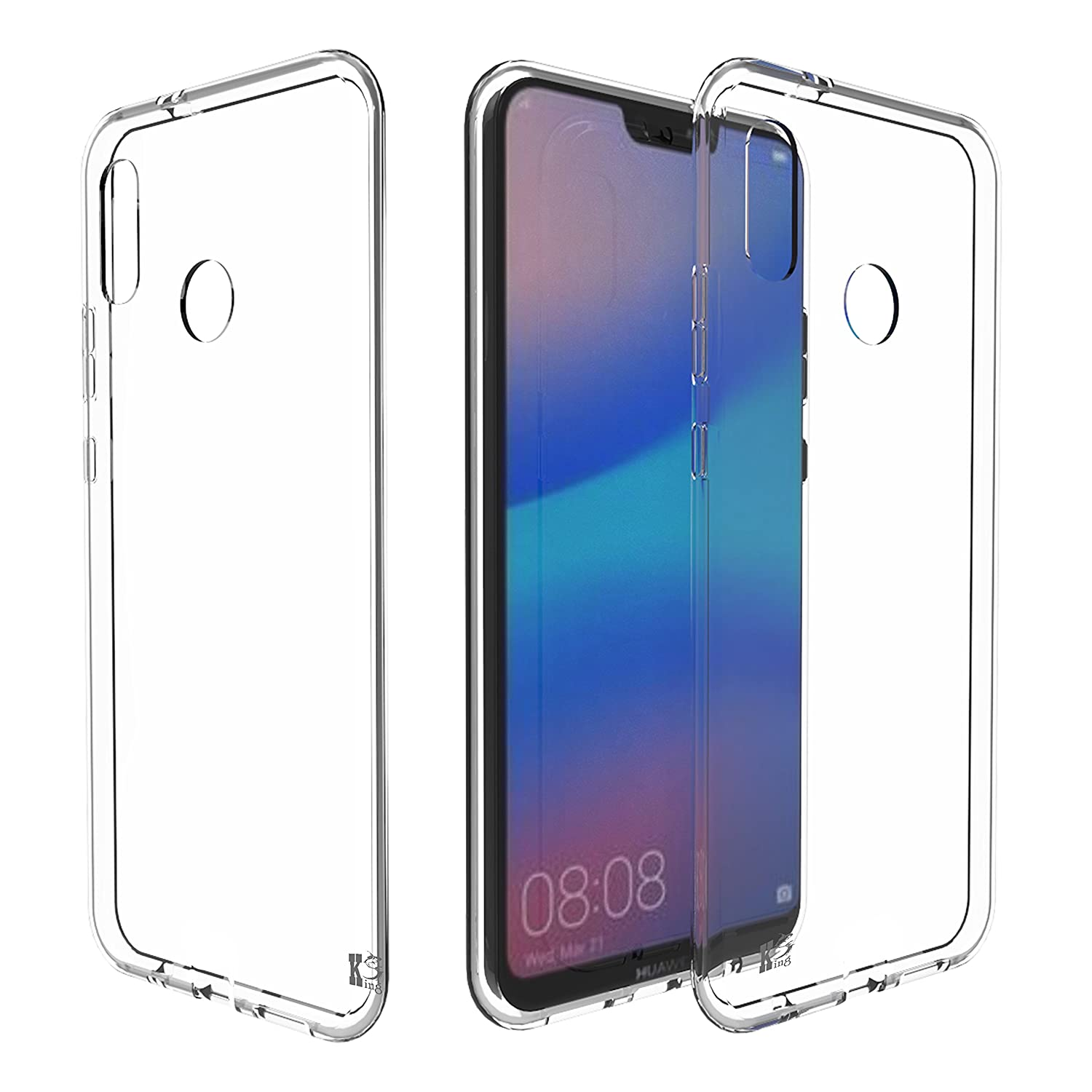 Huawei P20 Lite Cover, Kingshark ultra case cover [thin thin] flexible rubber TPU gel soft silicone protective skin for Huawei P20 Lite 2018 Transparent