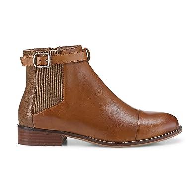 a944d62910e Cox Damen Damen Chelsea-Boots in Braun aus Nappa Leder, Stiefelette mit  Schnalle Braun