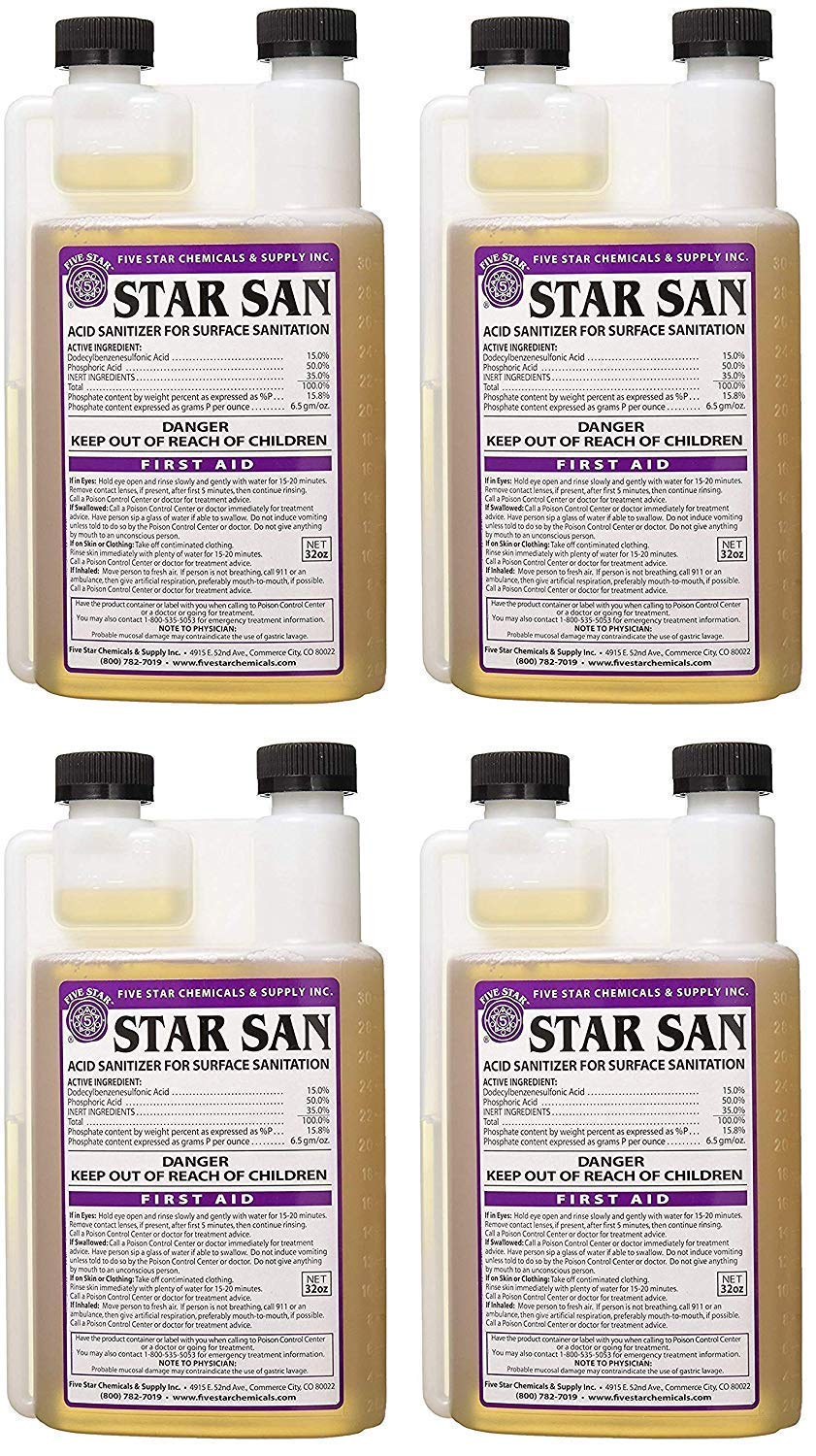 Five Star Star San Sanitizer (32 oz) (Pack of 4)