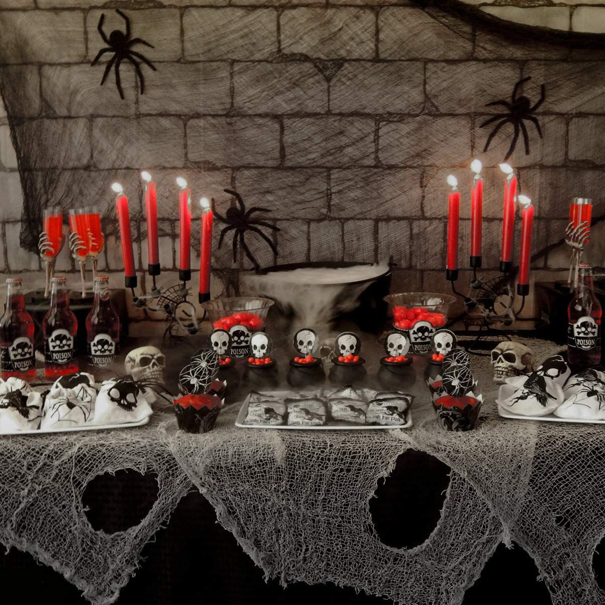 Halloween Creepy Cloth Cotton Creepy Gauze Cloth Spooky Halloween Fabric Halloween Gauze Decoration 3 Pcs, Grey