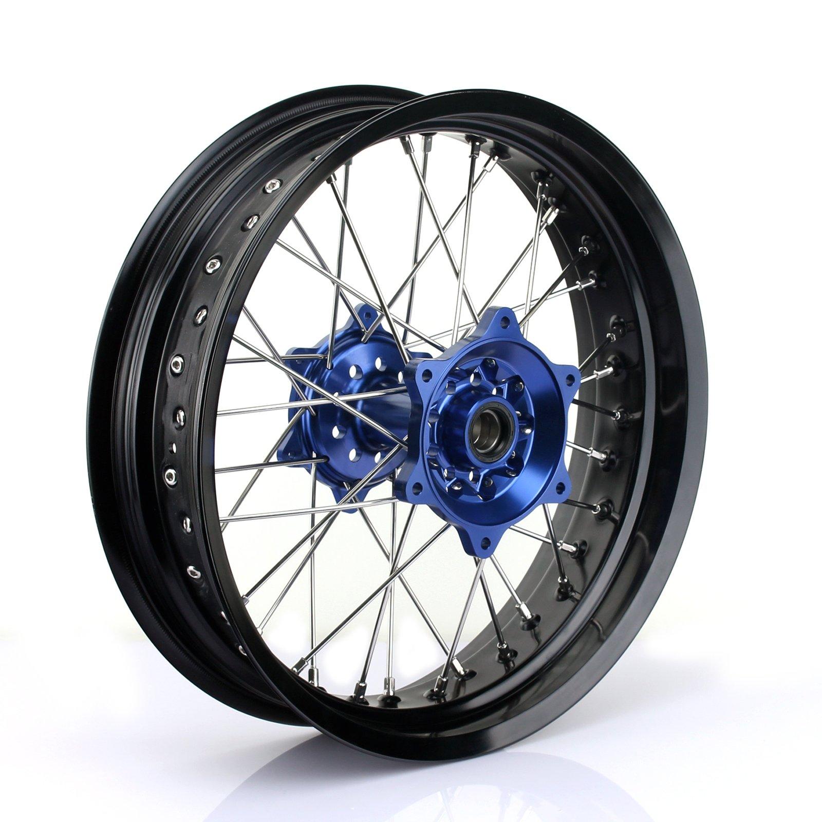 TARAZON 17''x4.25'' Supermoto Rear Complete Wheel Set Rim Spokes Blue Hub for Yamaha YZ250F YZF250 YZ450F YZF450 2009-2017