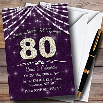 10 X 80Th Purple White Bling Sparkle Birthday Party Customized Invites