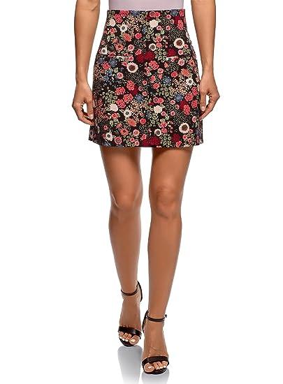 oodji Ultra Mujer Falda Trapecio con Estampado Floral, Negro, ES ...