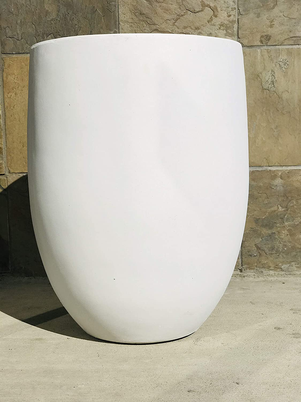Amazon Com Kante Rc0066a C80011 Lightweight Concrete Outdoor Round Bowl Planter 21 7 Inch Tall Pure White Garden Outdoor
