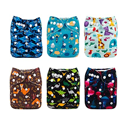 Alva Baby Nappies Reusable Washable 6 Nappies 12 Liners 6DM39
