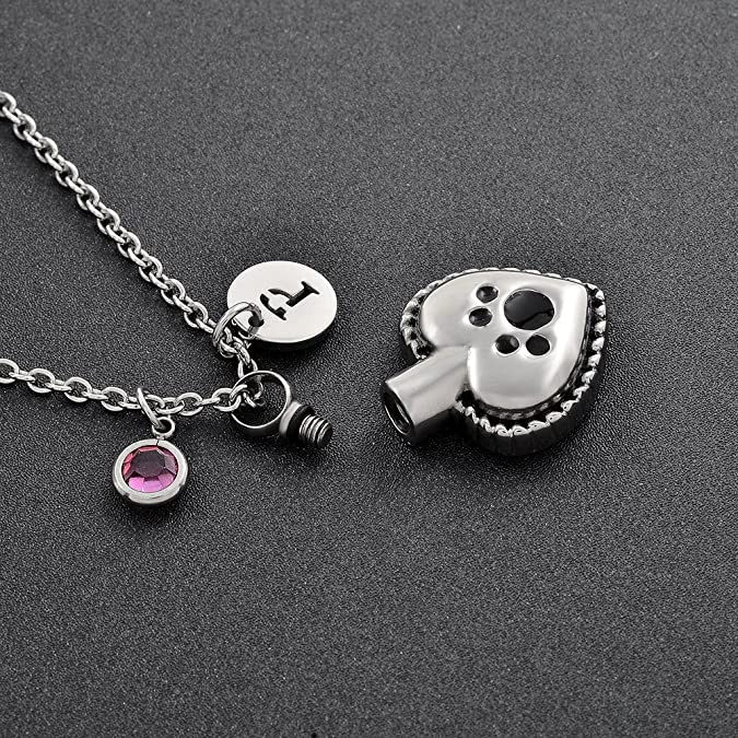 Personalized Pet Cremation Jewelry Pendant with 20 inch Cable Chain /& Ashes Filling Kit