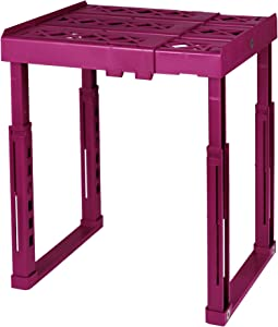 "Tools for School Locker Shelf. Adjustable Width 8"" - 12 1/2"" and Height 9 3/4"" - 14"". Stackable and Heavy Duty. (Magenta, Single)"