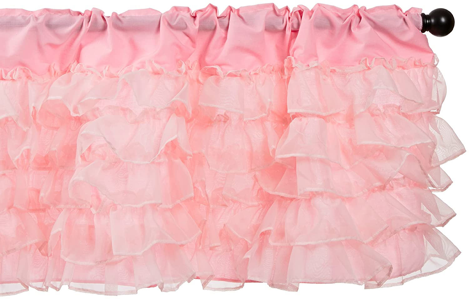 Baby Doll Bedding Layered 5 Piece Window Valance and Curtain Set, Pink 9750valc5-pink