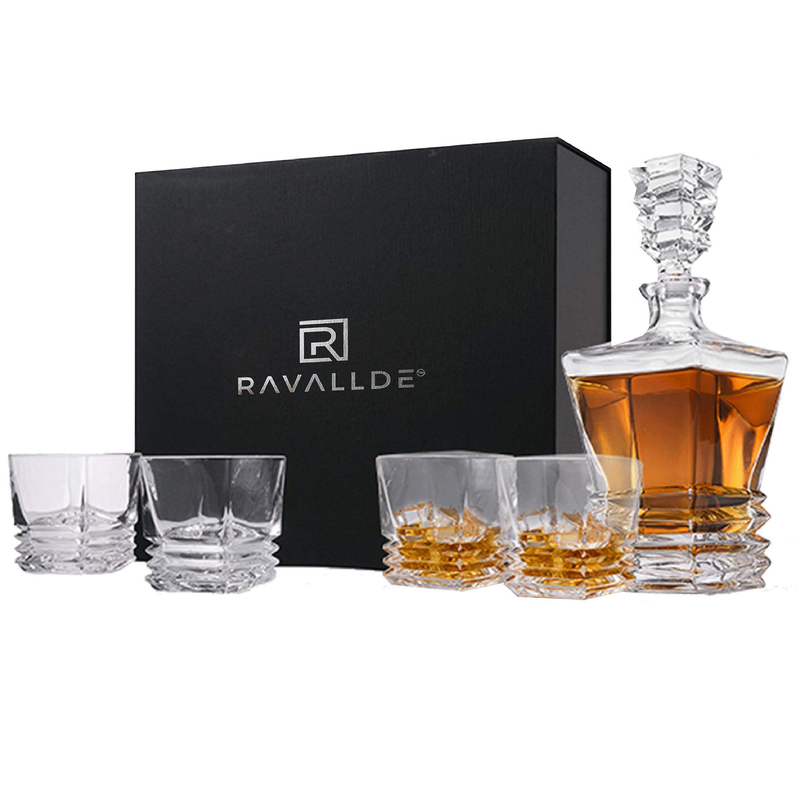 Pacific Whiskey Decanter Gift Set - Unique 5-Piece European Lead-Free Crystal Barware, Classic 27Fl oz Liquor Decanter With 4 Elegant Old Fashioned Glasses For Scotch, Whisky, Rum, Bourbon in Gift Box by RAVALLDE