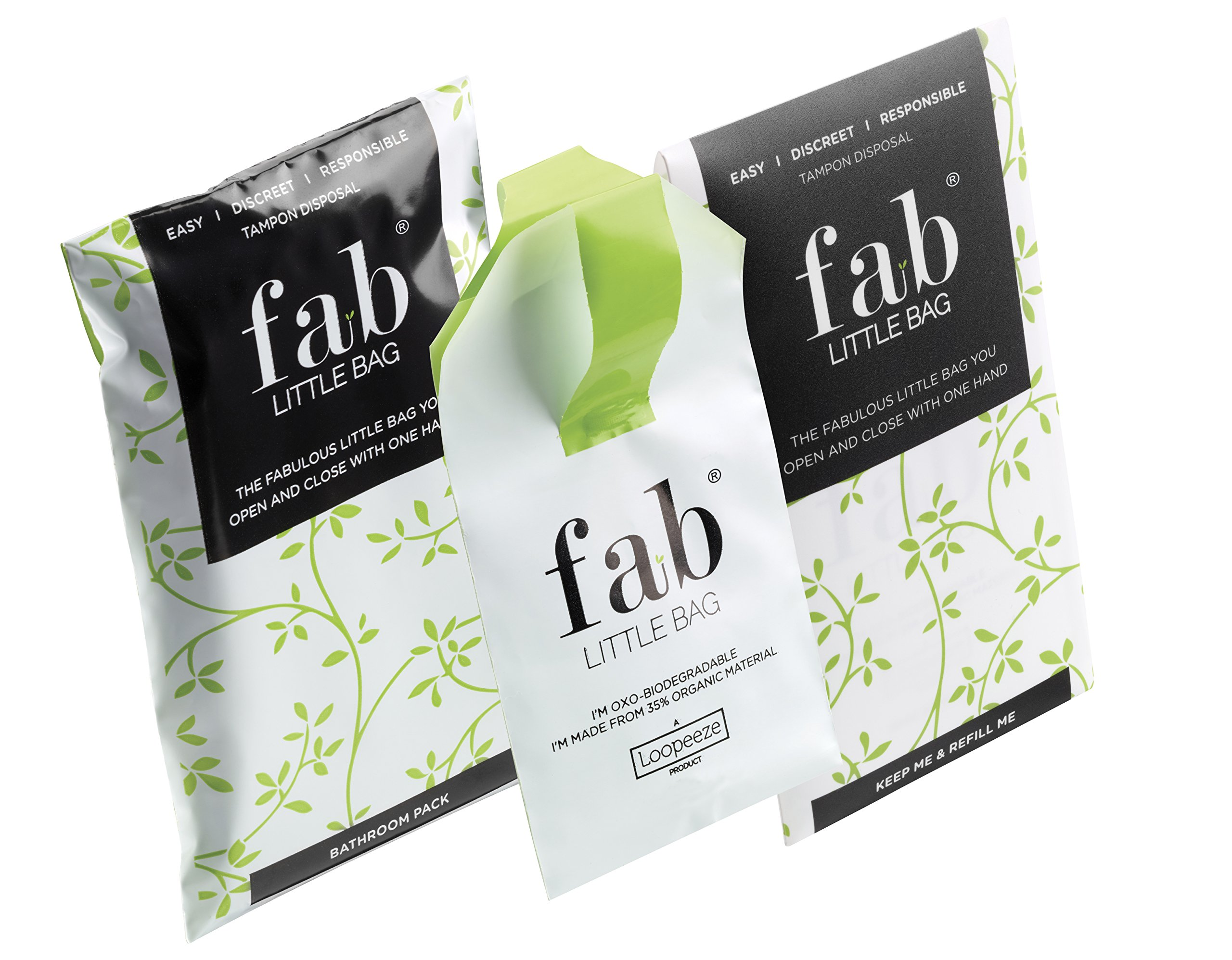 Fab Little Bag Sealable One Handed Tampon Disposal Bag 26g (Pack of 12)