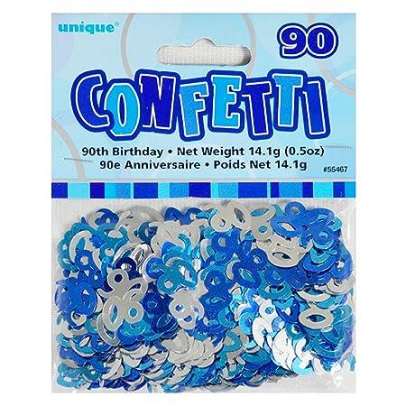 Unique Party - Confeti azul 90 cumpleaños (Tamaño Único/Azul ...