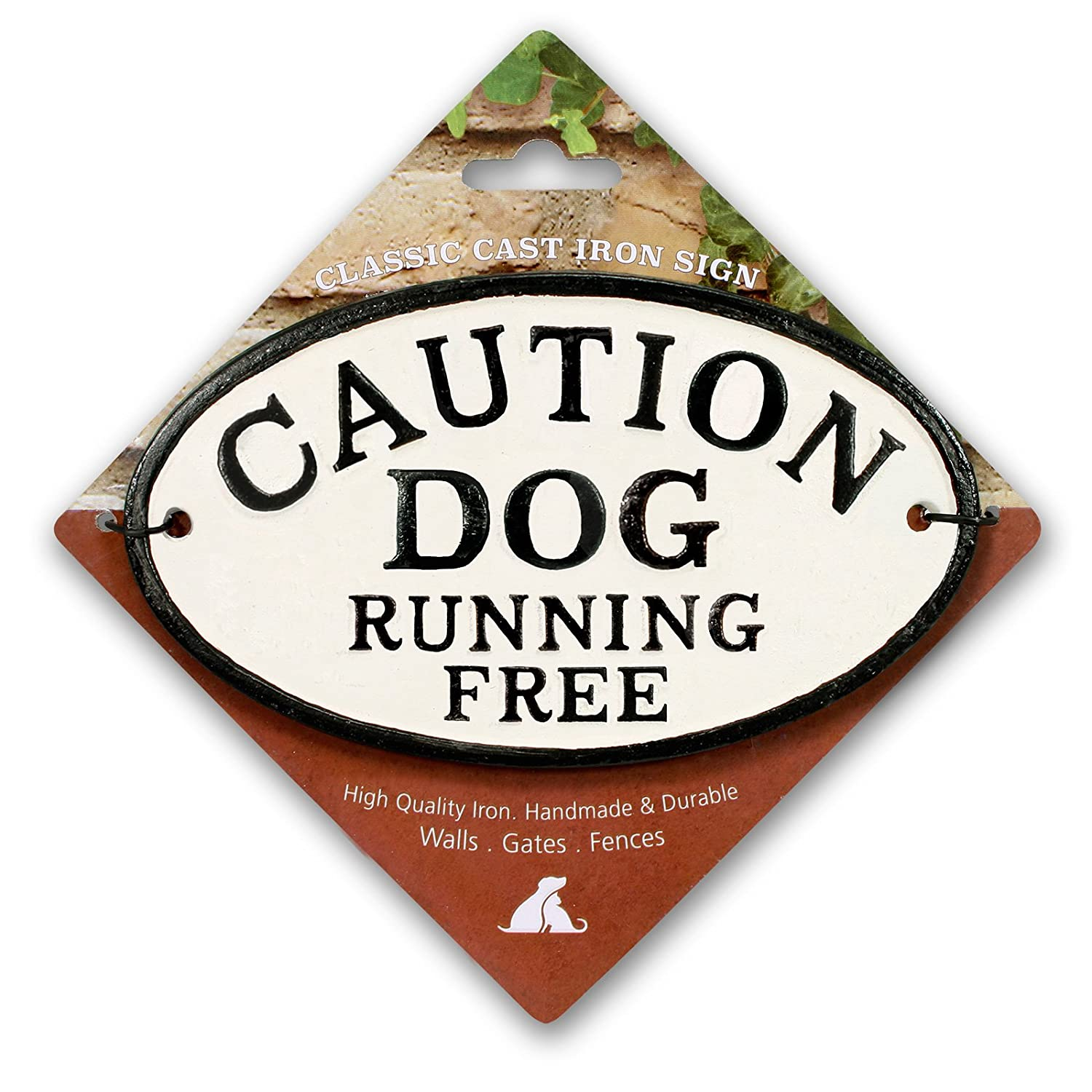 Magnet & Steel Caution Dog Running Free Cast Iron Oval Sign 6769