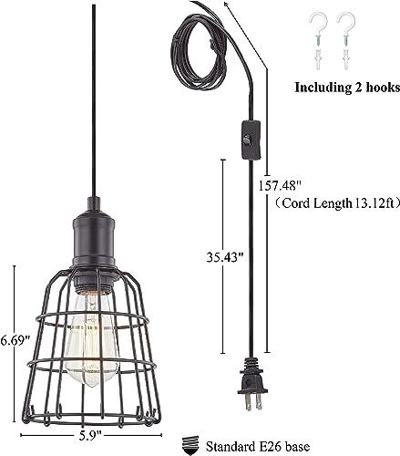 LeeZM Industrial Pendant Light Plug in Hanging Light Fixture Ceiling Light Vintage Hanging Lamp Plug in Pendant Lighting with Cord for Kitchen Island, Living Room, Bedroom Mini Black Cage Swag Lamp