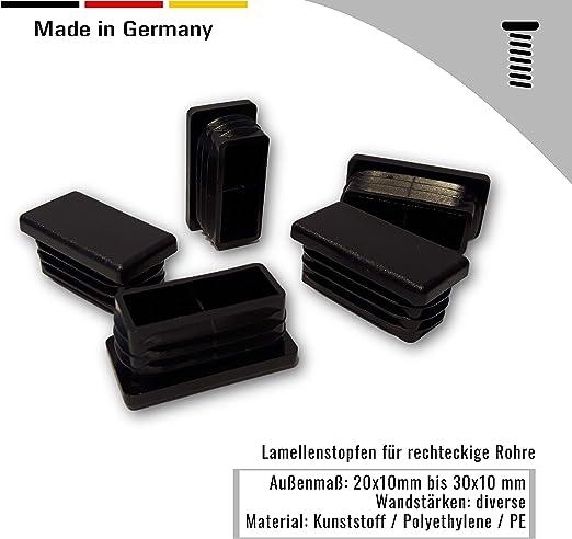 20 tapones negros para tubos cuadrados dimensiones exteriores 40x20x3mm