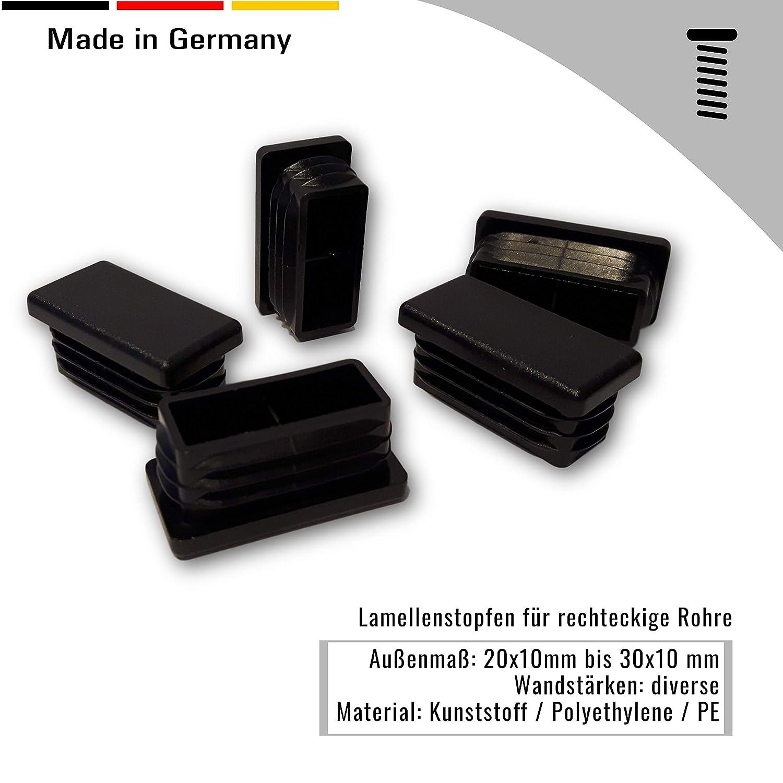 1 tap/ón para tubos cuadrados negro dimensiones exteriores 100x80mm