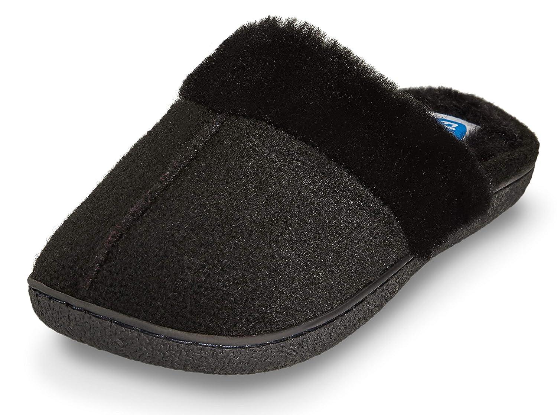 Floopi Womens Indoor Outdoor Soft Felt Fuax Fur Lined Open Back Slipper W//Memory Foam