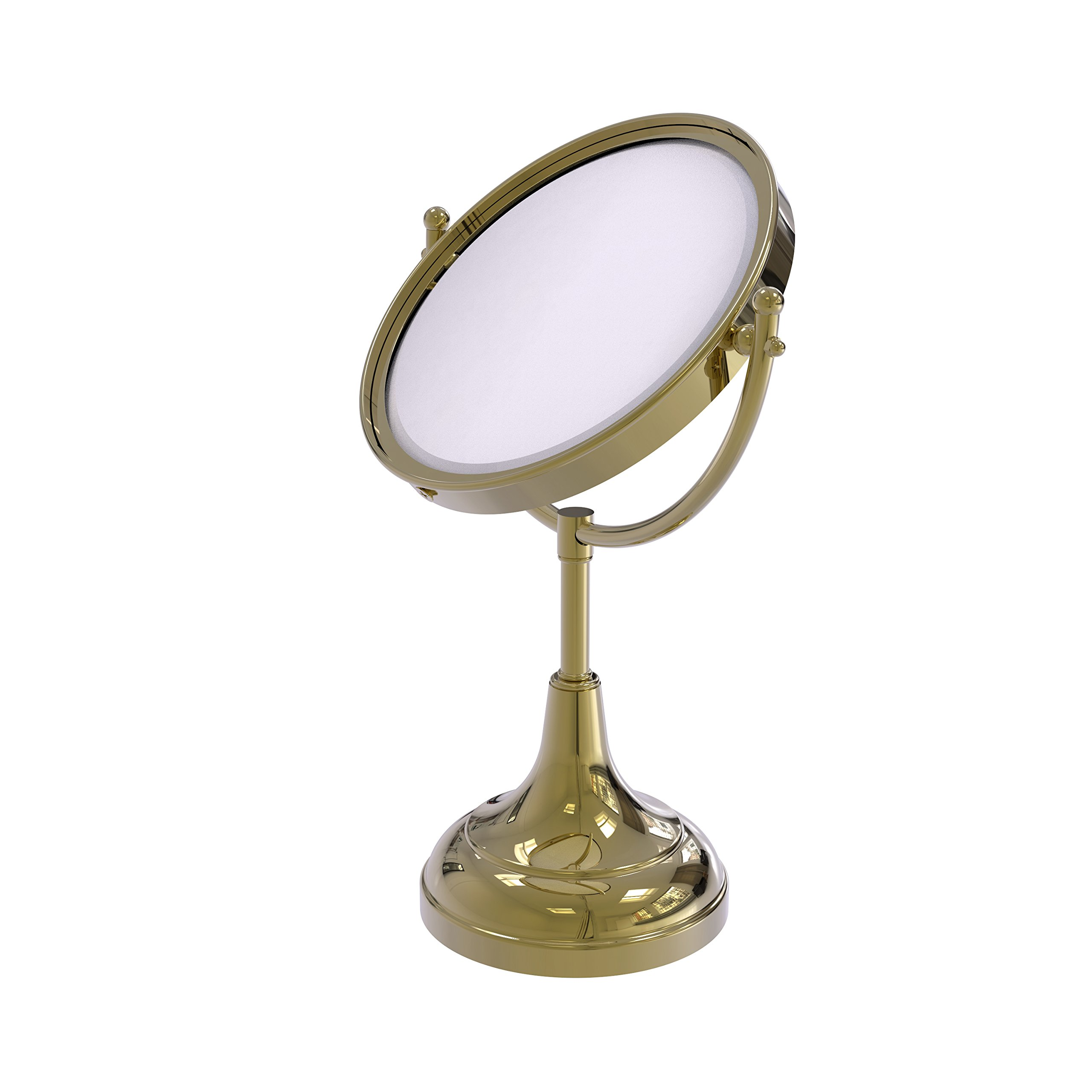 Allied Brass 8 Inch Vanity Top Make-Up Mirror 4X Magnification DM-2/4X - Unlacquered Brass