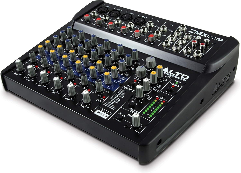 Alto Professional ZMX122FX - Mesa de mezclas compacta de 8 canales con efectos incorporados, cuatro entradas de micrófono XLR y dos entradas estéreo: Amazon.es: Electrónica