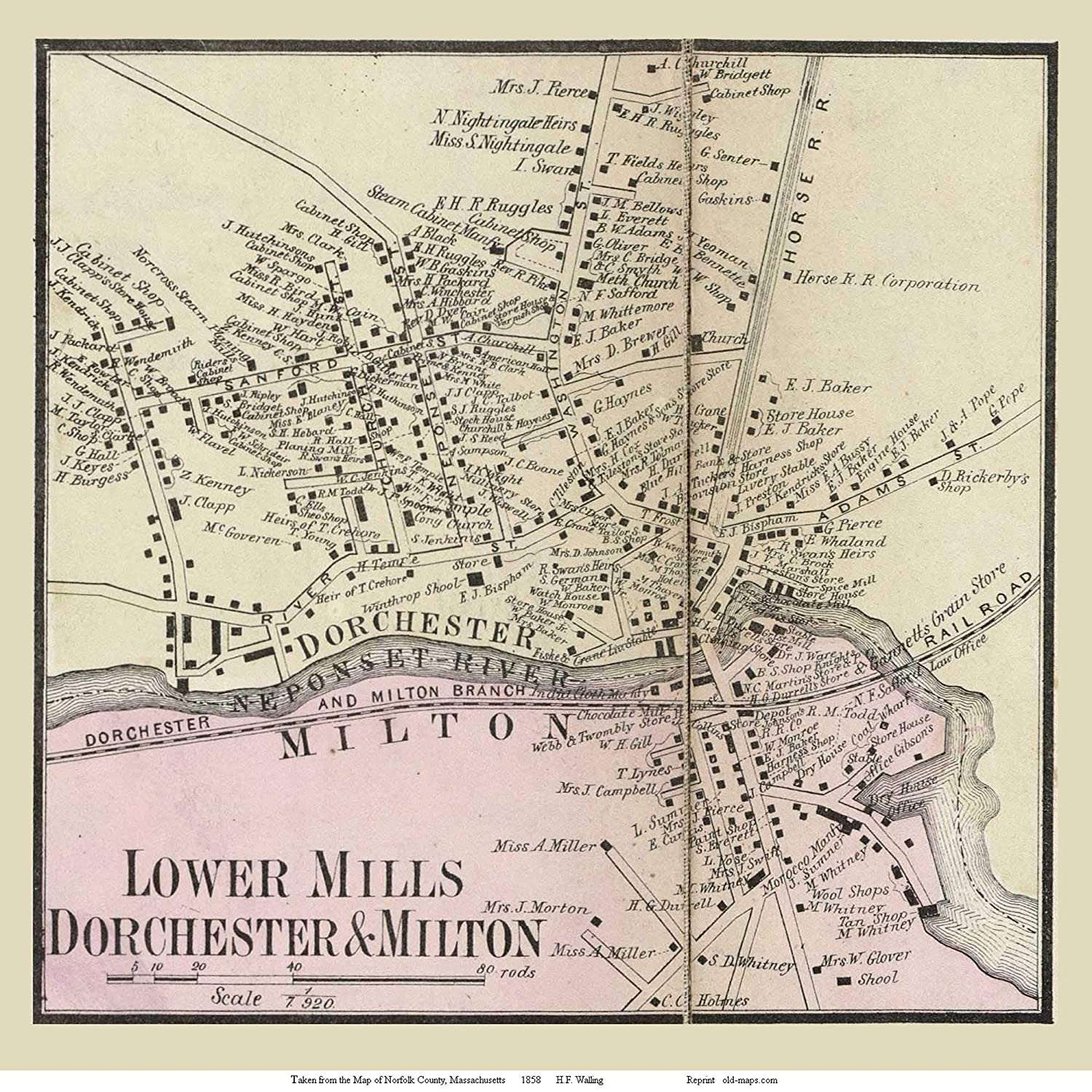 Amazon.com: Dorchester Lower Mills and Milton, Machusetts ... on map of rockingham county nh towns, map of middlesex county ma towns, map of cape cod ma towns, map of litchfield county ct towns,