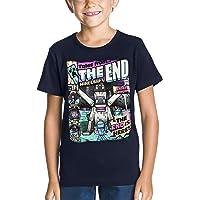 JINX La Camiseta Tales Minecraft Niños del Algodón Azul Marino Fin