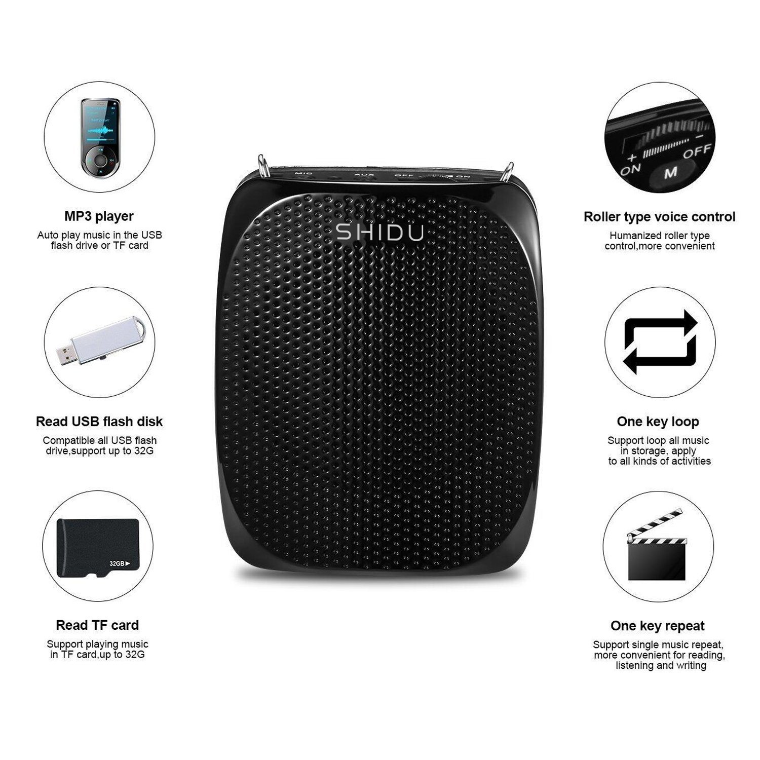 Portable Voice Amplifier Pa system loud speaker with 1800mAh Rechargable Lithium Battery , Wired headset Microphone Waist Support Suitable for Tour Guides, Teachers, Coaches, Presentations, Costumes by SHIDU (Image #2)