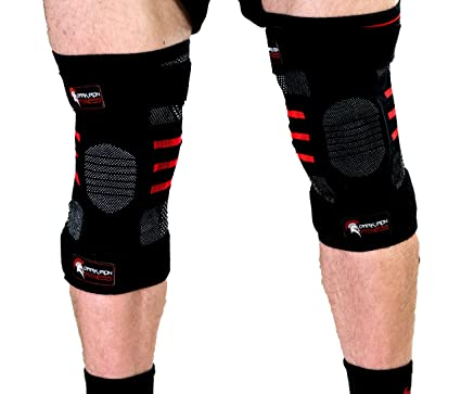 acc3ed628f Weightlifting Knee Sleeves for Crossfit Powerlifting and Weight Training |  1 Pair of Compression Sleeve Wraps for Knees with Power Lifting Padded  Support ...