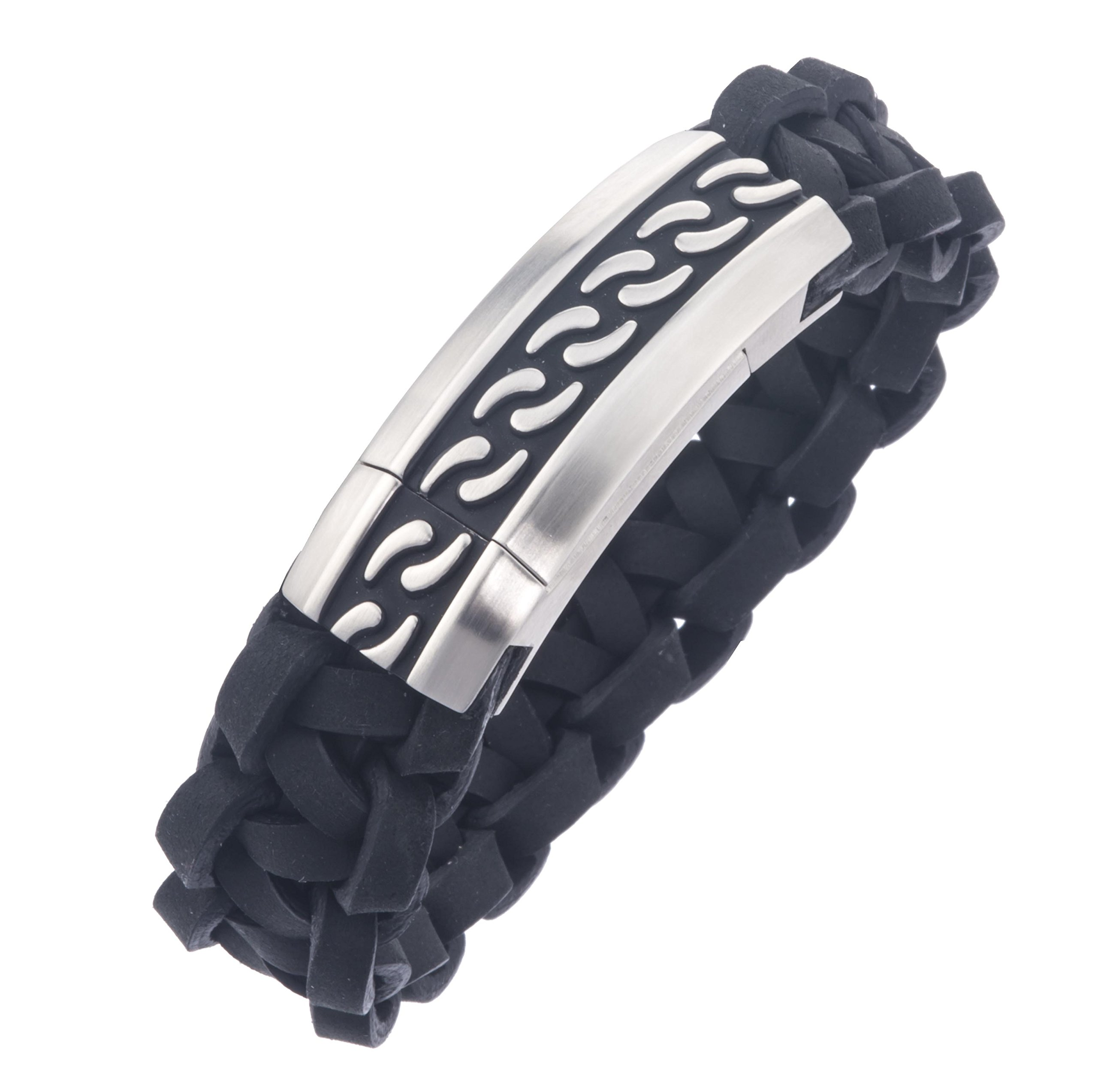 AX Jewelry Mens Stainless Steel Braided Leather Bracelet by AX Jewelry (Image #2)