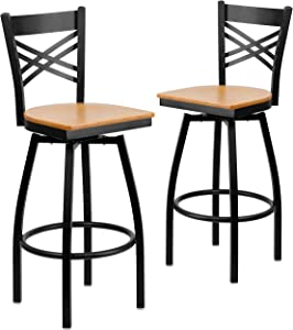 Flash Furniture 2 Pk. HERCULES Series Black ''X'' Back Swivel Metal Barstool - Natural Wood Seat