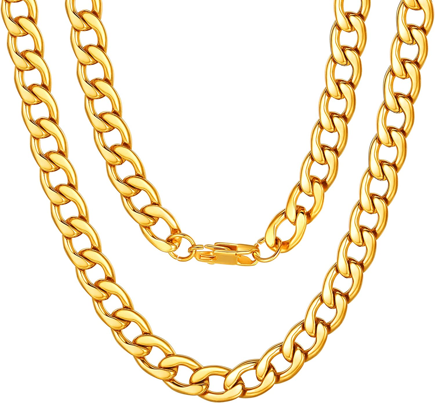 """ChainsPro Mens Sturdy Cuban Chain Necklace, 4/5/6/9/12/13/15 MM Width, 14"""" 18"""" 20"""" 22"""" 24"""" 26"""" 28"""" 30"""" Length, Hip-Hop Cool Style, 316L Stainless Steel/18K Gold Plated/Black-(with Gift Box)"""