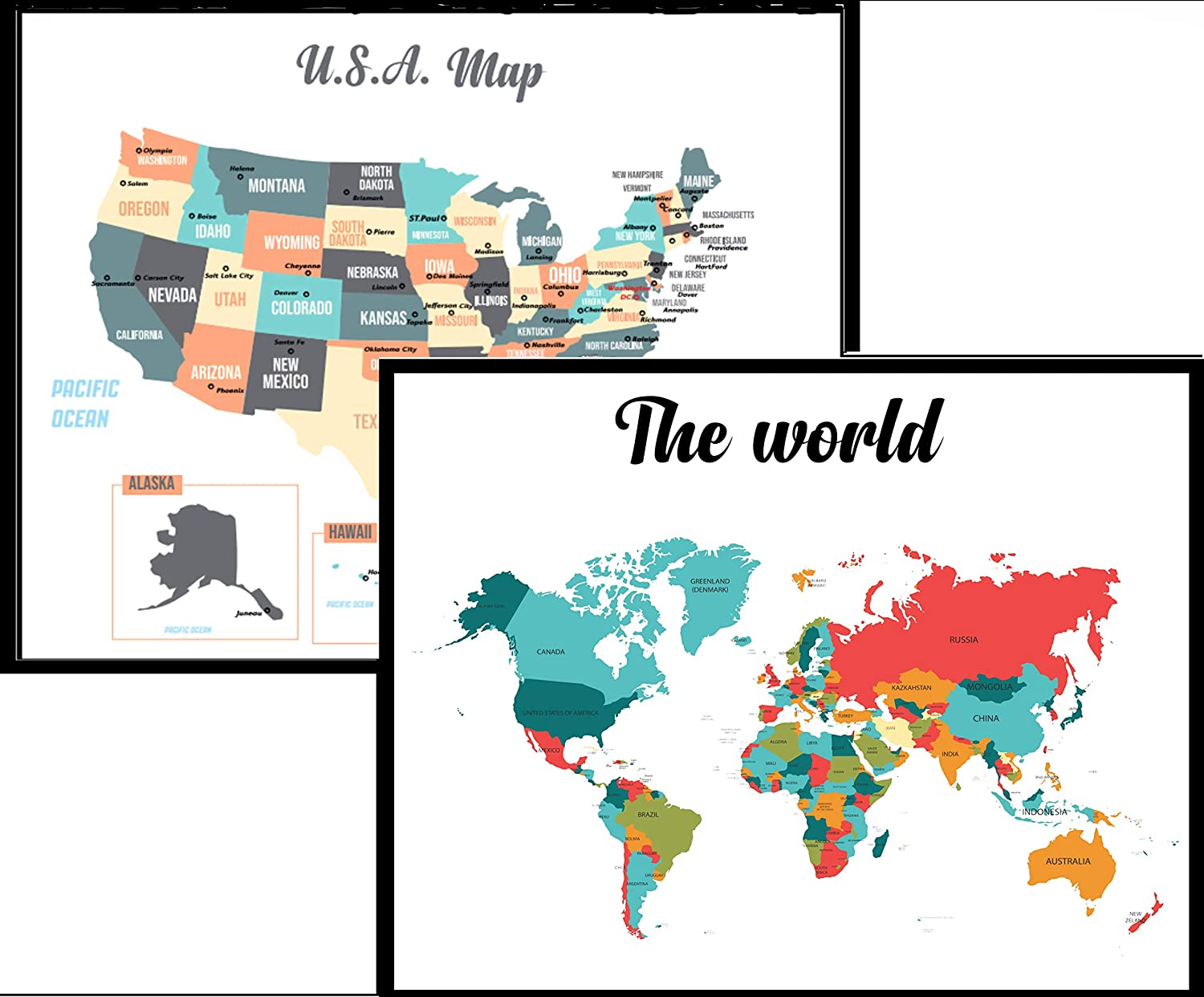 World and US map for Kids Two Poster Set- Learn Geography- Wall Art Chart  of United States and Word map Matte Laminated Wall Hanging.