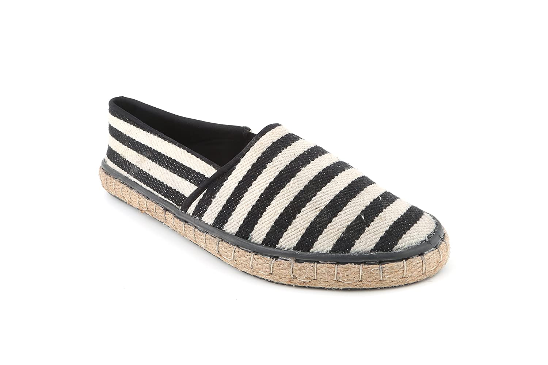 Black \u0026 White Striped Espadrilles Flats