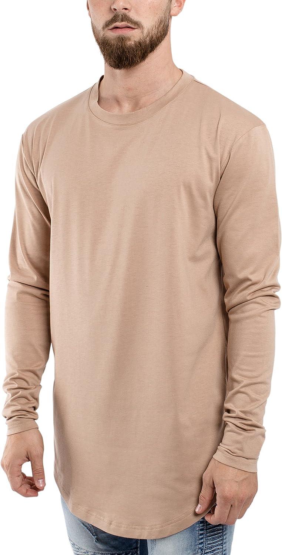 Blackskies Side Zip Basique Longsleeve T-Shirt Diff/érentes Couleurs Hommes Chemises Fermeture /Éclair Manches Longues Longshirt Base Arrondie Long T-Shirt Tee