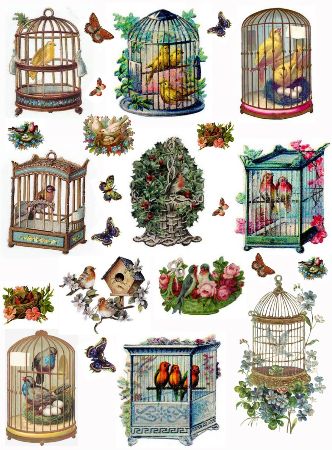 Vintage Victorian Birdcages Collage Sheet Art Images for Decoupage, Scrapbooking, Jewelry Making Paper Moon Media