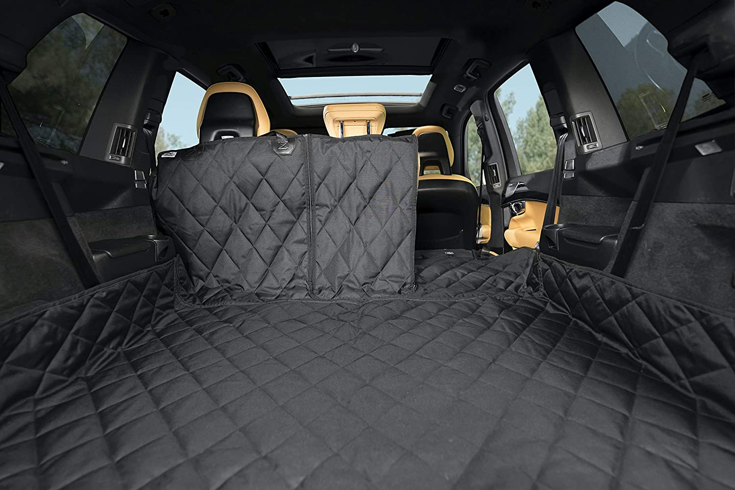 Plush Paws Waterproof Cargo Liner with Bumper and Side Panels, Large (Black) : Pet Supplies