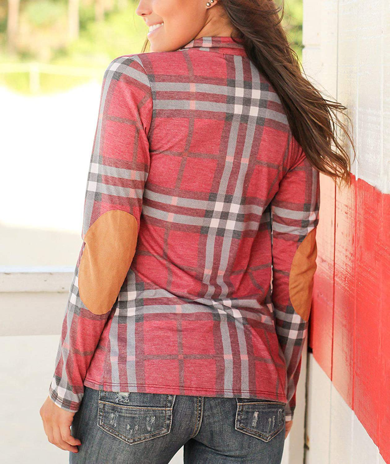 Womens Plaid Open Front Cardigan Shawl Collar Long Sleeve Elbow Patch Draped Outwear