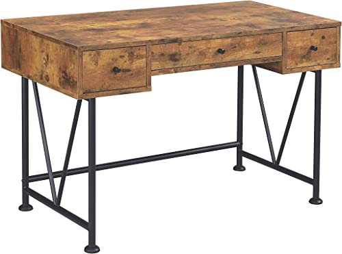 Coaster Home Furnishings Analiese 3-drawer Writing Desk Antique Nutmeg and Black