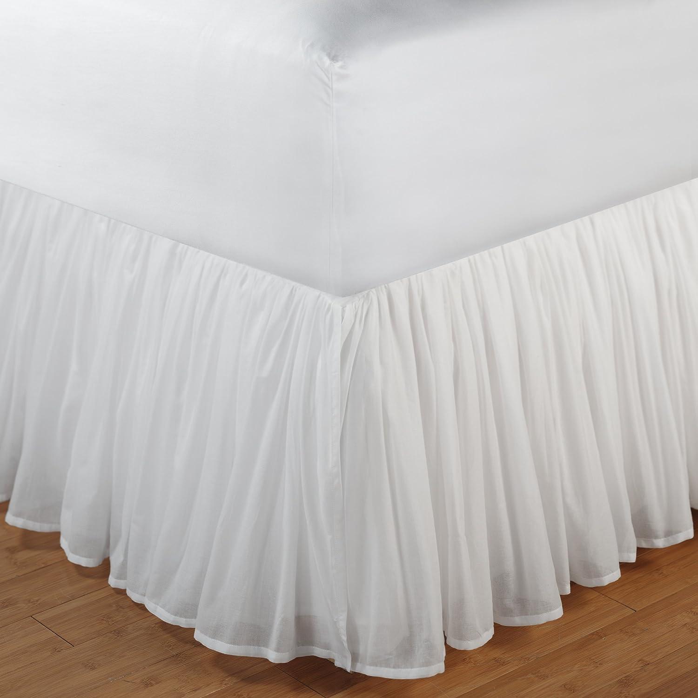 Amazon.com: DS White Organic Linen Gauze/Sheer Lined Bed Skirt or