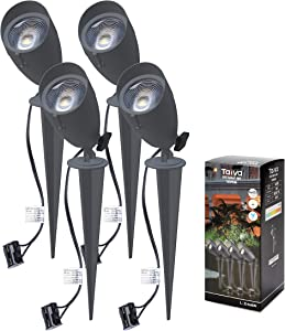 Taiva 4 Pack 6W LED Spike Spot Light Outdoor,Aluminium Die-Cast,12V Low Voltage Landscape Light,Warm White Waterproof IP65 Pathway,Outdoor Stake Light for Yard Lawn Garden,Transformer NOT Included