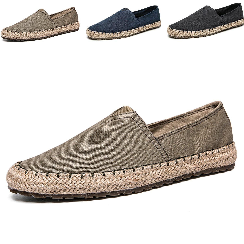 Men's Casual Cloth Shoes Canvas Slip on Loafers Espadrille Leisure Breathable Shoes Khaki 11.5M US