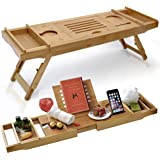"""Bathtub Caddy & Laptop Bed Desk –Patent Pending 2 In 1 Innovative Design Transforms Our 100% Extra Large Bamboo Bathtub Tray To Bed Tray (10"""" wide) – For The Ultimate Pampering Experience"""