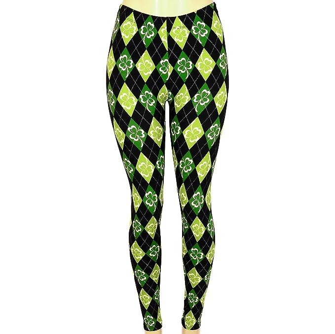 800a7c0c81b79 Women's Leggings St Patrick's Argyle Shamrock Clover Print (Green Black, ...