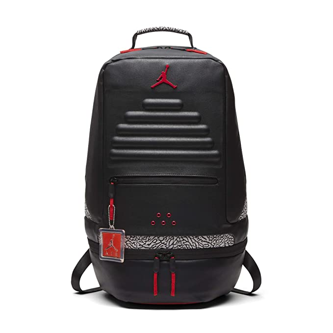 Nike Air Jordan Retro 3 III Black Cement Grey Backpack Gray Red 88 9A0018 KR5