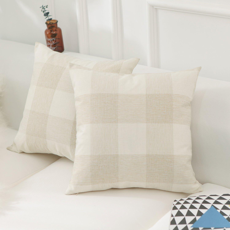 Home Brilliant Fall Decorations Retro Checkers Plaids Farmhouse Tartan Soft Cotton Linen Home Decorative Throw Pillow Covers Shams Cushion Cases Cover Sofa, 2 Pack, 18x18 inches(45x45cm), Beige White