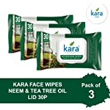 Kara Tea Tree Oil & Neem Cleansing & Hydrating Face Wipes, 30 Count (Pack of 3)
