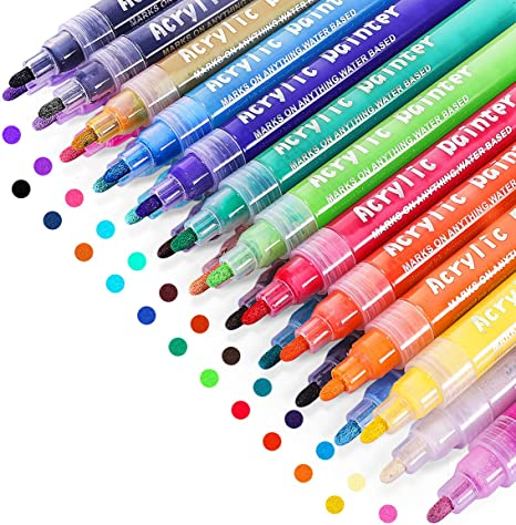 Acrylic Paint Marker Pens 24 Colors Water Based Paint Pens DIY Craft Making Supplies Used for Permanent Marking of Rock,Ceramic,Glass,Plastic,Wood,Fabric Mug Canvas