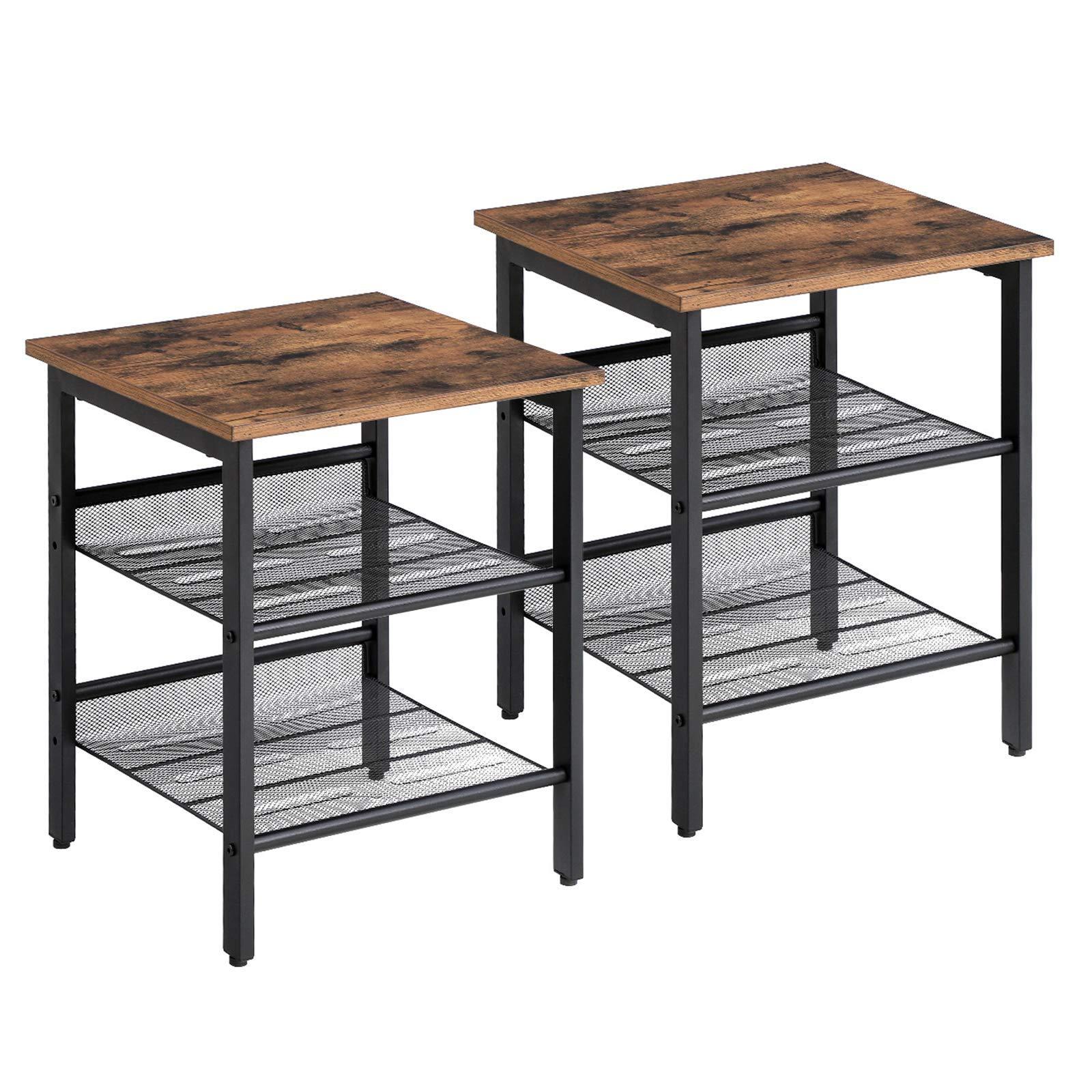 VASAGLE Side Table Set, Nightstand, Industrial Set of 2 Bedside Tables, with Adjustable Mesh Shelves, Living Room, Bedroom, Hallway, Office, Stable, Rustic Brown and Black LET24X