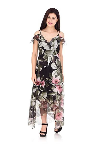 low priced 308e1 b316c Guess Abito Lungo Donna Fantasia Floreale Verde: Amazon.it ...