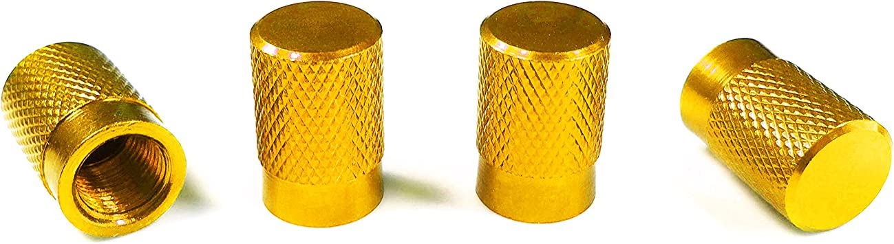 Round Style Wheel Tyre Valve Stem Caps Gold for Motorcycles Rims Dustproof Caps