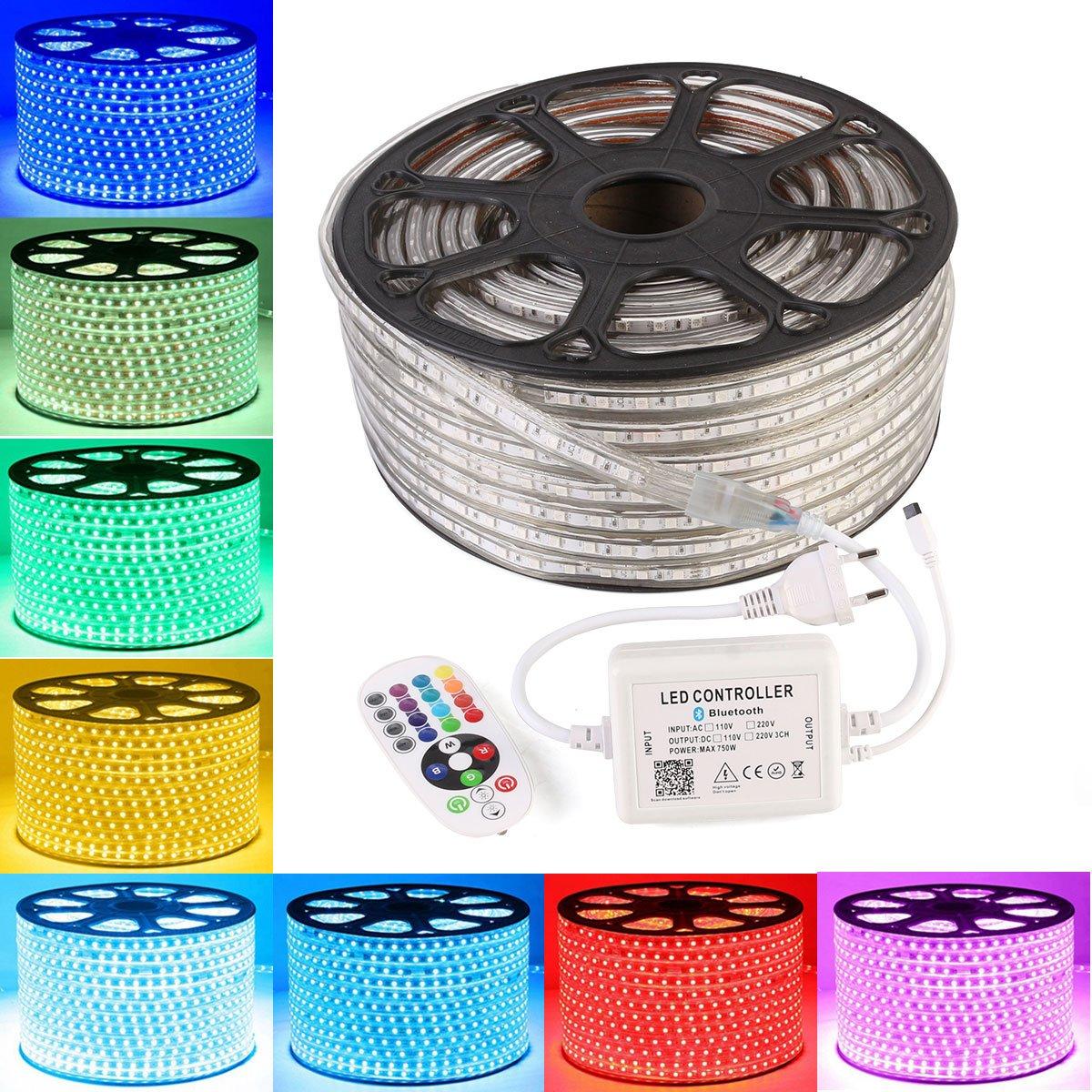 GreenSun 20M Ruban LED Lumineuse Etanche RGB Multicolore SMD 5050 LED avec Changement de Couleur Flexible Bande éclairage 720W Bluetooth télécommande 24 Touches